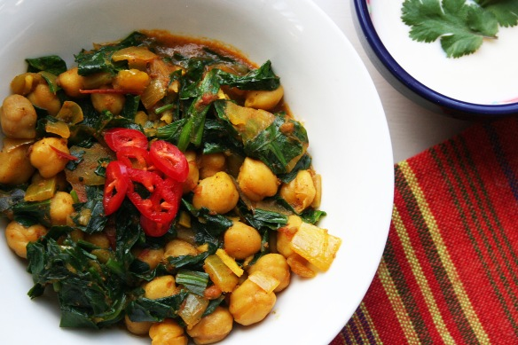 chana masala with wild garlic