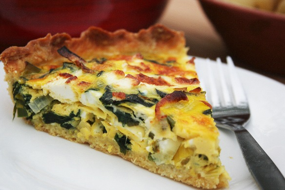 wild garlic and feta tart