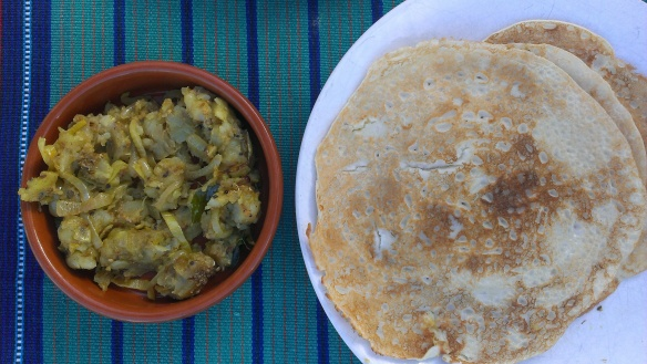 Dosas and potato filling